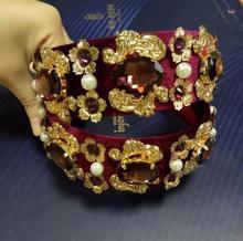 Fashion vintage baroque metal flowers leaves crystal hair bands royal lace gem rhinestone pearl headband women hair accessories
