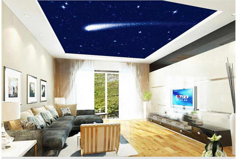 Custom photo wallpaper large 3D Stereo romantic Meteor sky ceiling 3d murals wallpaper for living room in Wallpapers from Home Improvement