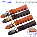 Brown orange wristband 18mm genuine leather watch strap for withings activite/steel/pop smart bracelet quick release