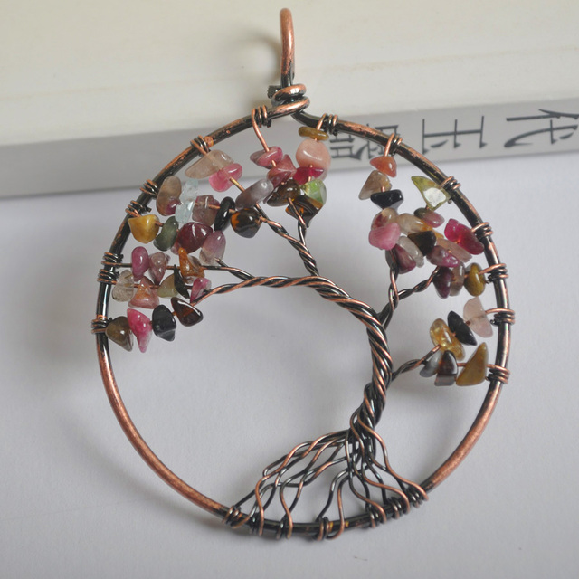 Lucky Handmade Tree of life Tourmaline Bronze Copper Wire Wrap ...