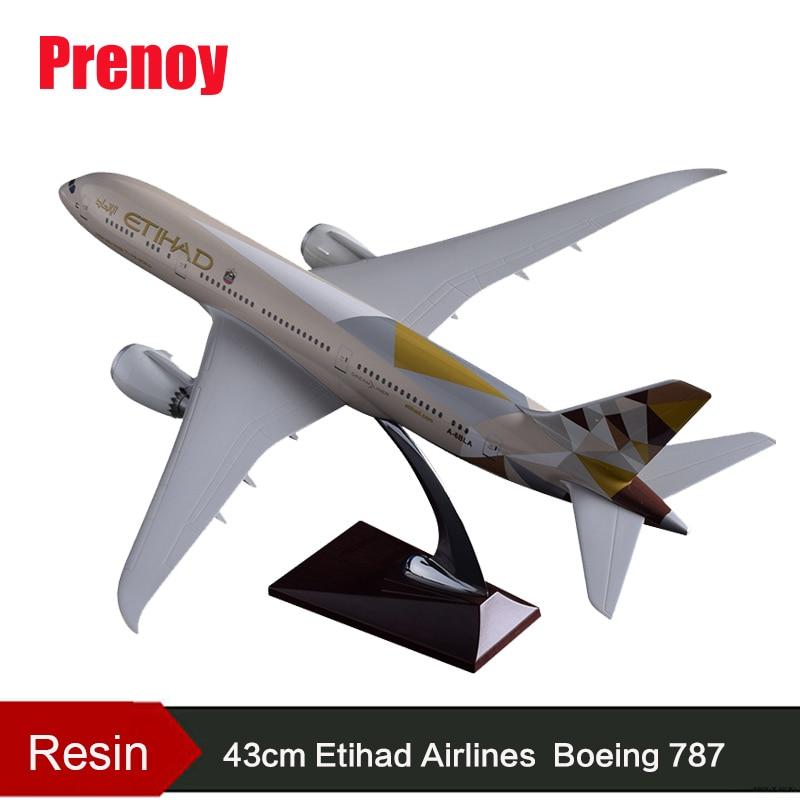 43cm Resin Boeing 787 Airplane Model Etihad Airways Aircraft B787 Airbus Model Etihad Stand Plane Aviation Model Craft Collect phoenix b777 200lr a6 lrc 1 400 10944 etihad airways commercial jetliners plane model hobby