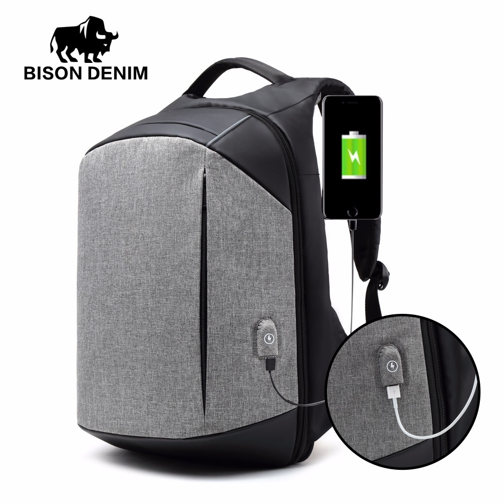 BISON DENIM 15 Laptop Backpack External USB Charge Computer Backpacks Anti-theft Waterproof Bags for Men Women Packbag N2737-1 quot laptop backpack external usb charge computer backpacks anti theft waterproof bags for men women school large capacity