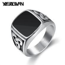 5fdab8d20c50 Nordic Vikings anillos 316L acero inoxidable negro Punk hombres anillo  Vintage martillo plata Retro Biker dedo envío de la gota .