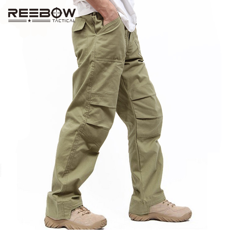REEBOW TACTICAL Outdoor Sports Cotton Pants Men Trousers SWAT Combat Pants Overalls Military Trousers Breathable Tactical Pants