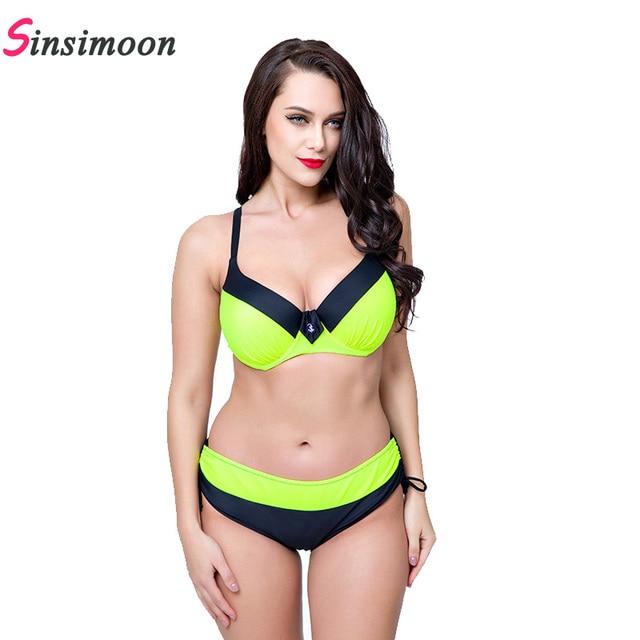 3212c68edd New 2019 Women Patchwork Swimsuit Plus size Bikini set Big bust Female  Swimwear High quality Bathing suit Beachwear Biquini sets