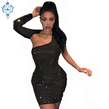 Ameision Single Sleeve Long Hollow Out Party Dress Backless Hot drilling solid color Reflective Irregular Mini Dresses