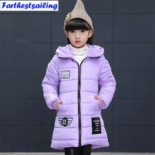 цены Girls Winter Jackets Kids Hooded Cotton Coats Winter Snowsuit For Children Girls Winter Thick Parka Kids Warm Coats