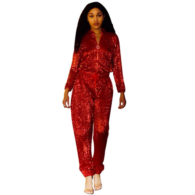 b619fd998427 Long Sleeve Sequin Jumpsuit Women Spring Autumn Front Zipper Drawstring  Waist Clubwear Long Pants Romper Sparkly