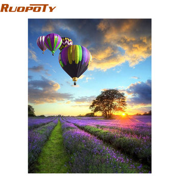 RUOPOTY Frame Romantic Balloon DIY Painting By Numbers Kits Landscape Modern Wall Art Canvas Acrylic Painting For Home Decor ruopoty frame mountain lake diy painting by numbers landscape handpainted oil painting modern home wall art canvas painting art
