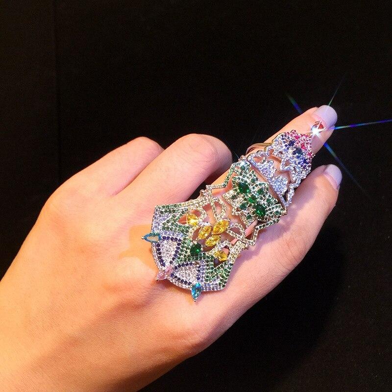 Bague de protection de luxe pour femmes ouvrant réglable couleur Zircon bijoux mode mariage bagues de fiançailles saint valentin cadeaux
