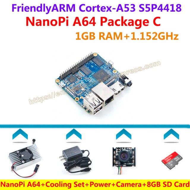 NanoPi A64 Development Board(64-bit Quad-core Cortex-A53 1.152GHz,1GB DDR3 RAM)+Cooling Set+Power+Camera+8GB Card=A64 Package C