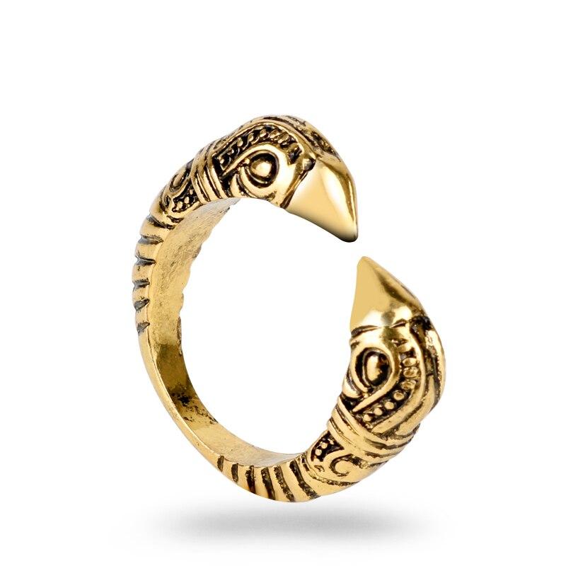 Us 1 4 29 Off Mqchun Nordic Viking Amulet Raven Ring Head Bird Pagan Odin Rune Scandinavian Fashion Men Jewelry Opened Rings Christmas Gift In Rings