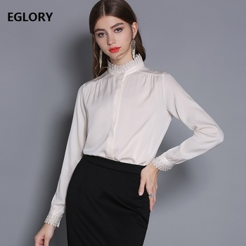 High Quality Brand Blouse Shirt 2019 Spring Summer Office Work Blouse for Women Ruffled Collar Green Apricot Blouse Female Shirt фото