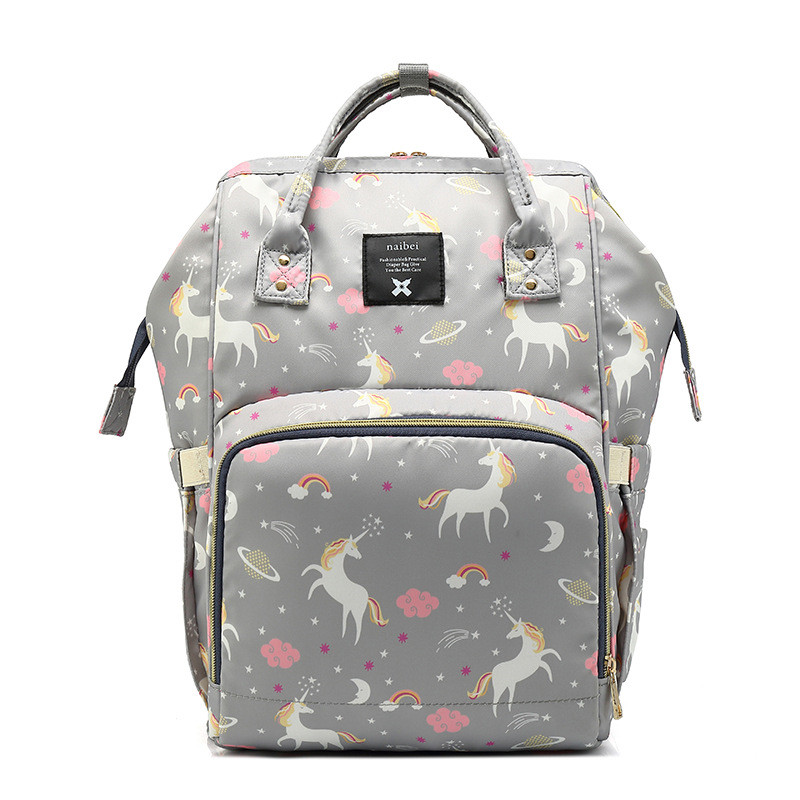 36-55L 3 Bottle Insolution Bags Unicorn Printed Mummy Bag Multi-Function Large Capacity Waterproof Backpack Mother-to-Child Bags