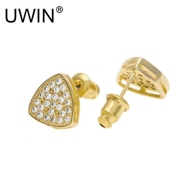 Uwin New Men Women Triangle Shine Full Zircon Rhinestone Crystal Gold Stud Earrings Hip Hop Jewelry