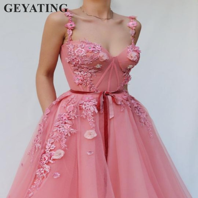 2019 Elegant Pink Long Prom Dresses Tulle Embroidery Beaded Flowers Floor Length A-line Ladies Special Occasion Evening Gowns