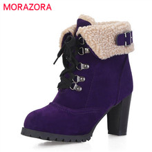 MORAZORA 2020 hot البيع الثلوج أحذية النساء قطيع روسيا الدفء الخريف الشتاء الأحذية الدانتيل يصل عالية الكعب حذاء من الجلد للنساء حذاء
