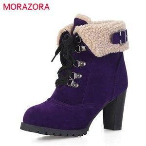 Image 1 - MORAZORA 2020 sıcak satış kar botları kadın akın rusya sıcak tutmak sonbahar kış çizmeler dantel up yüksek topuklu yarım çizmeler için kadın ayakkabı