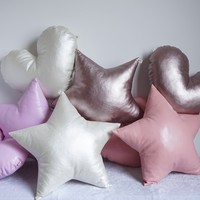 Handmade PU shiny stars seat cushion,candy pink stars sofa pillow cushion, cute orange color seat mat for children room