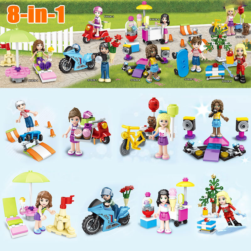 8Pcs/lot School Girl Friends Mini dolls Building Block Bricks Toys Compatible with Legoed Friends Christmas Gift For Children