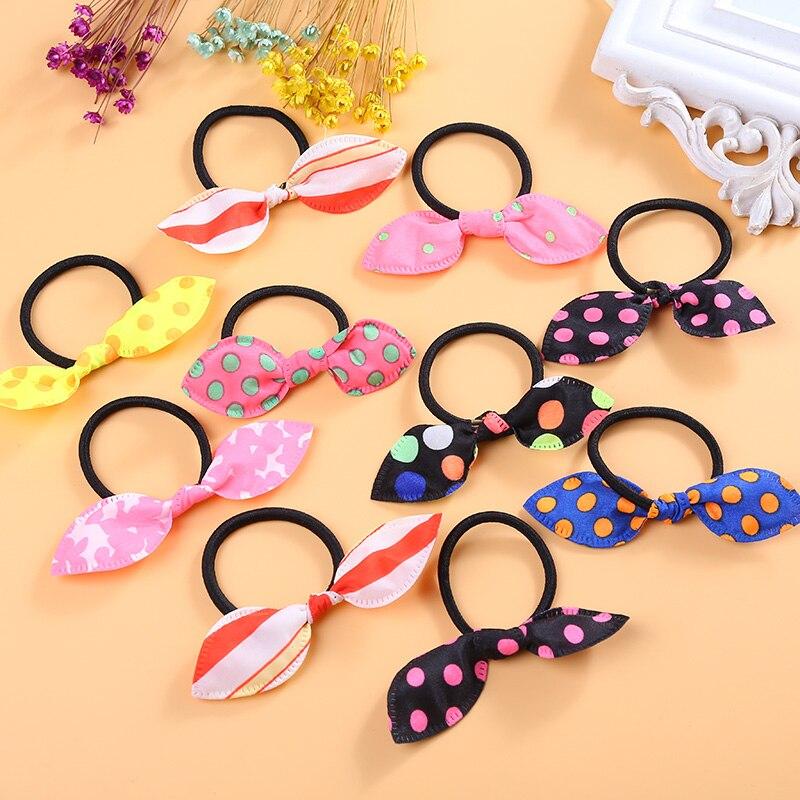 Cloth Fabric Rabbit Ear Elastic Hair Bands Colorful Bows Hair Rope Hair Accessories Headwear for Women Girls