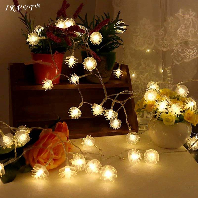 IKVVT DHL Shipping AC 220V 100m 600 leds pine cone string fairy light wedding Christmas holiday New Year party decoration цена
