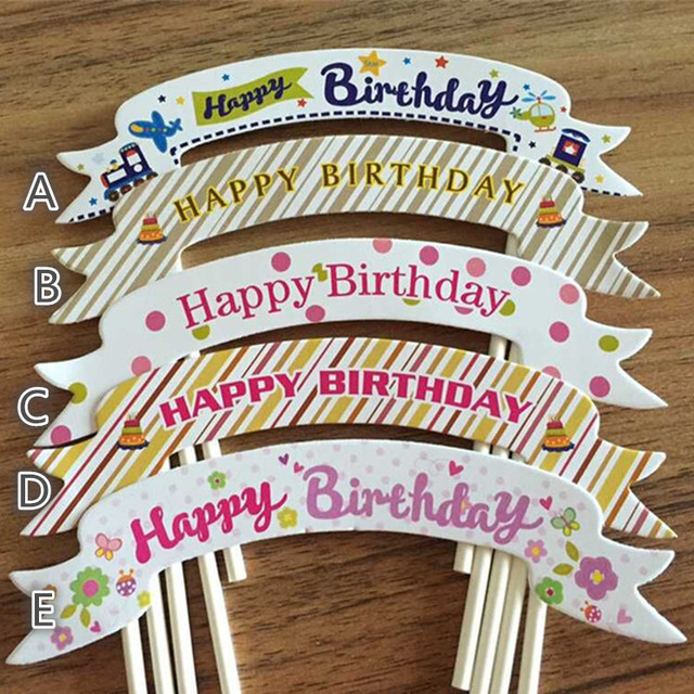 50pcslot birthday cake topper happy birthday party decorations birthday cake decoration supplies cake accessories - Party Decoration Stores