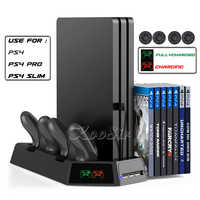 PS4 Slim Pro Console Support Vertical Cooling Fan Stand 14 Game Disc Tower PS 4 Conroller Charging Station for Playstation 4