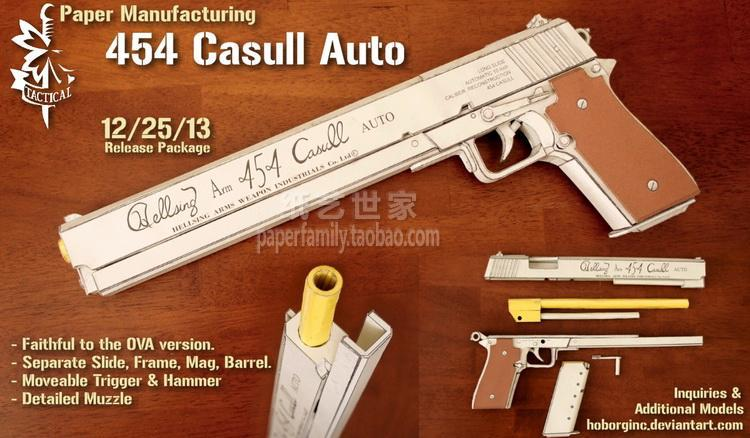 Casull Revolver Hellsing 454 Casull Pistol Scale 1:1 Vampire Akat Weapons Could Be Handheld 3D Paper Model Manual