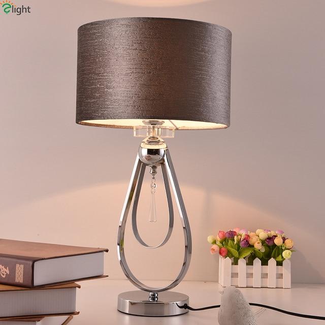 Modern Chrome Metal Led Table Bedroom Fabric Shade Lights Fixtures Living Room