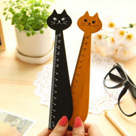 cute Creative Wood Straight Ruler Black Yellow 2 Colors Lovely Cat Shape Ruler Office Supplies Gift For Kids School Supplies15cm