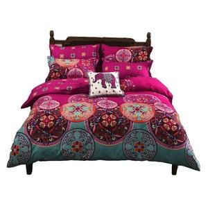 Image 1 - Ropa de cama Boho conjuntos de cama de Mandala funda de edredón funda de almohada de hoja plana doble tamaño doble Doble