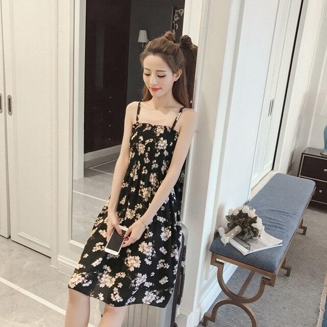 Japanese Mori Girl Summer Midi Dress Women Ladies Plus Size Sweet Floral  Print Sexy Spaghetti Strap Casual Beach Wrap Dress a2a034c4b324