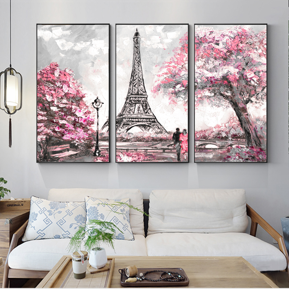 3 Panels Paris Tower Wall Art Canvas Paintings Abstract Landscape Modular Pictures Love In Paris Canvas Prints For Living Room
