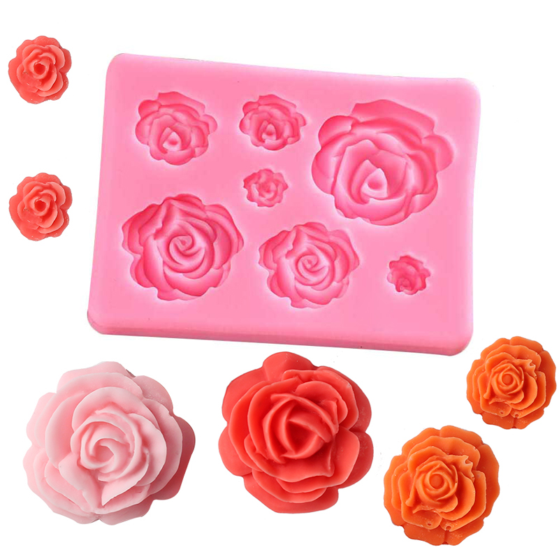 Hot Sale 3D Silicone Cake Decorating Mold Tools Rose Flowers Mould for Soap Candy Chocolate Ice Candy Paste Baby Cookies Moulds