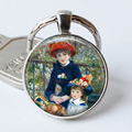 Mother and Daughter Glass Custom Keychain - RENOIR - Jewerly Renoir Famous Painting Art Keyring Cabochon Gift Key Chain Ring