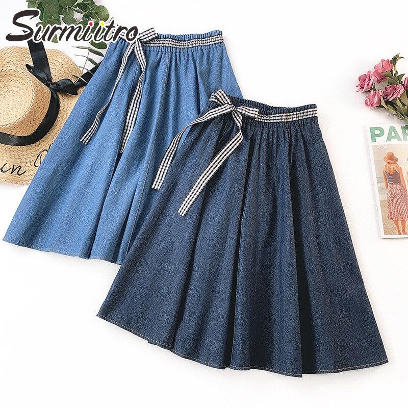 a41879560b Surmiitro alta cuadros cintura verano falda de mezclilla de las mujeres de  la primavera de 2019 nueva moda Midi rodilla longitud Sol Azul la falda de  Jeans ...