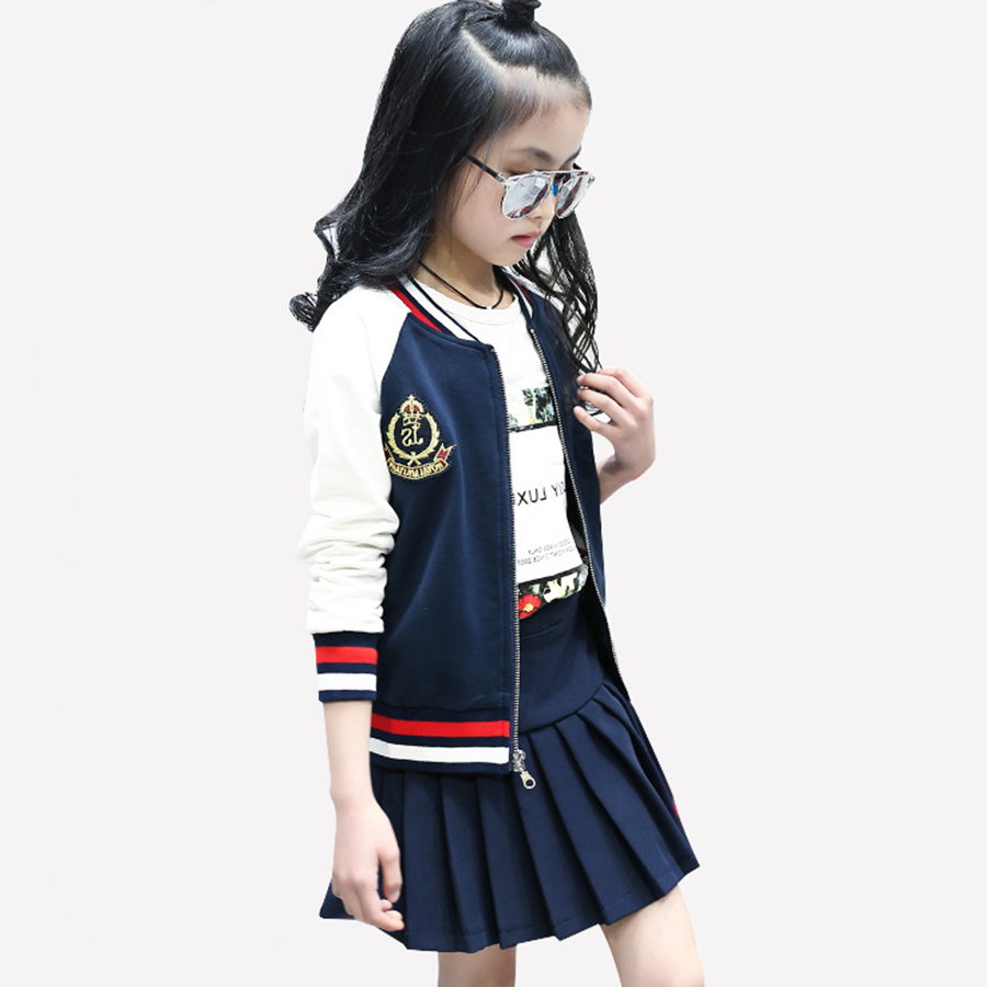 Girls suit teen spring autumn suit girls casual suit girls jacket + skirt 2 piece suit teen girls clothing 6 8 10 12 years