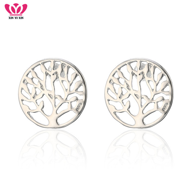 b4a39b767 New Fashion Round Tree Of Life Stud Earrings Women Silver Plant Tree Steel  Needle Earring Girl Party Jewelry Hot Dropshipping