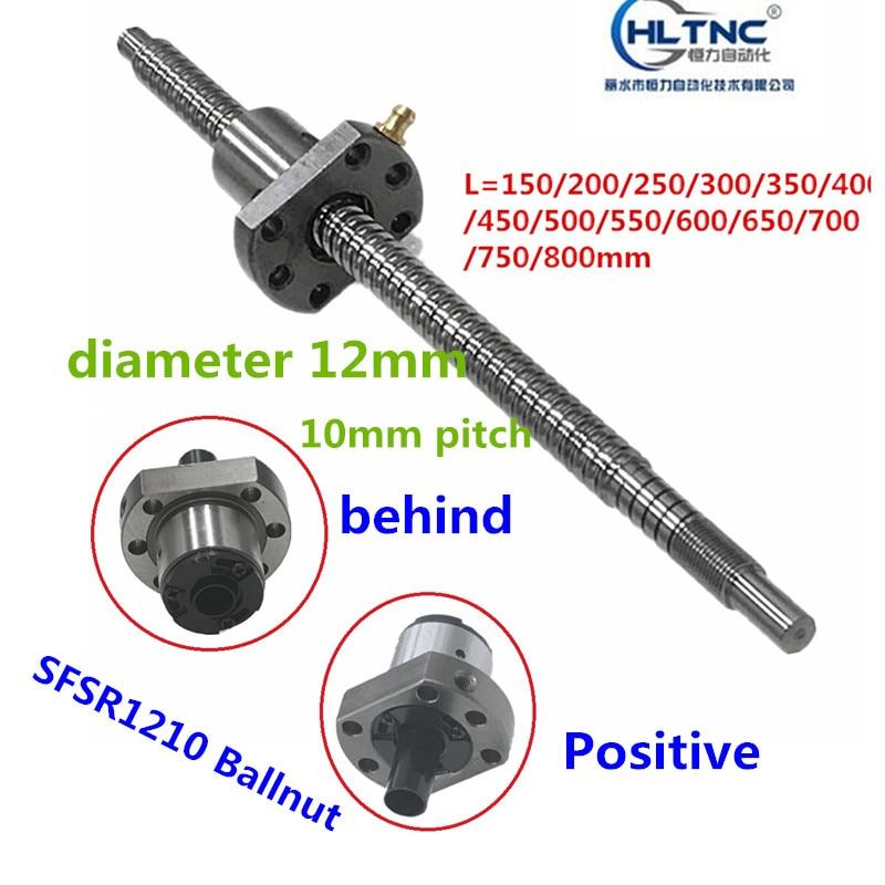 12 Diameter 10mm Pitch SFSR1210 150 200 250 300 350 400 450 500 550 600 650 Mm C7 Ball Screw SFS1210 BK/BF10 End Machined