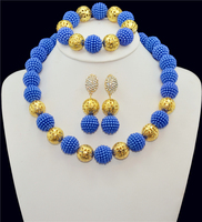 Fashion African Beads Jewelry Set Blue Imitation Pearl Beads Bride Jewelry Nigerian Wedding African Beads Jewelry