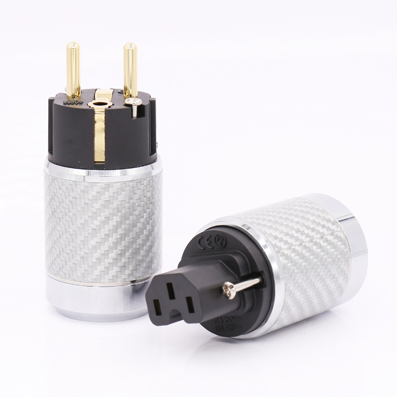 Free shipping 1Set HIFI Gold Plated EU AC Power Plug Male IEC Female Carbon Fiber Connector