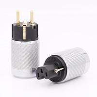 O envio gratuito de 1 Conjunto Banhado A Ouro de ALTA FIDELIDADE DA UE AC Plug Power Masculino Feminino IEC Conector De Fibra De Carbono|power plug|ac power plugiec female connector -
