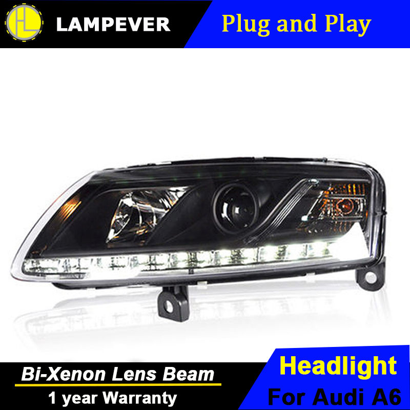 Lampever Styling For A6 C5 Headlights 2005 2008 A6 LED Headlight DRL Lens Double Beam H7 HID