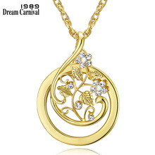 DC1989 Sweet look Flower Reading GlassCrystals Neckalce 2x Magnifying Glass Pendant 18KGP Platinum Plated
