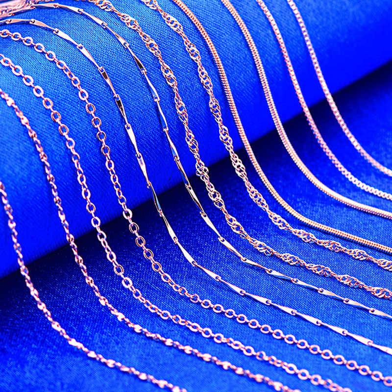 RE 45cm DIY łańcuch naszyjniki przyjazne dla kobiet miedzi fala/wąż/Box łańcuchy koraliki do biżuterii dla wisiorek akcesoria różowe złoto J40