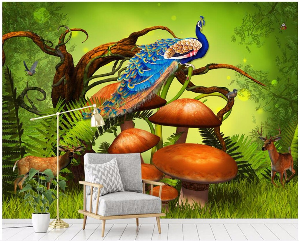 Custom photo 3d wallpaper mysterious primitive forest animal peacock room Home decor 3d wall murals wallpaper for wall 3 d custom 3d photo wallpaper 3d wall murals wallpaper cartoon animal graffiti wall children room background wall 3d wallpaper room