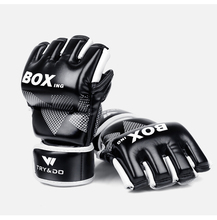 UFC gloves  leather mma fighting Kick boxing gloves training gloves 2017 new quality mma kick boxing protectors suit blue color men women taekwondo fighting chest shin groin protectors helmet 5pcs