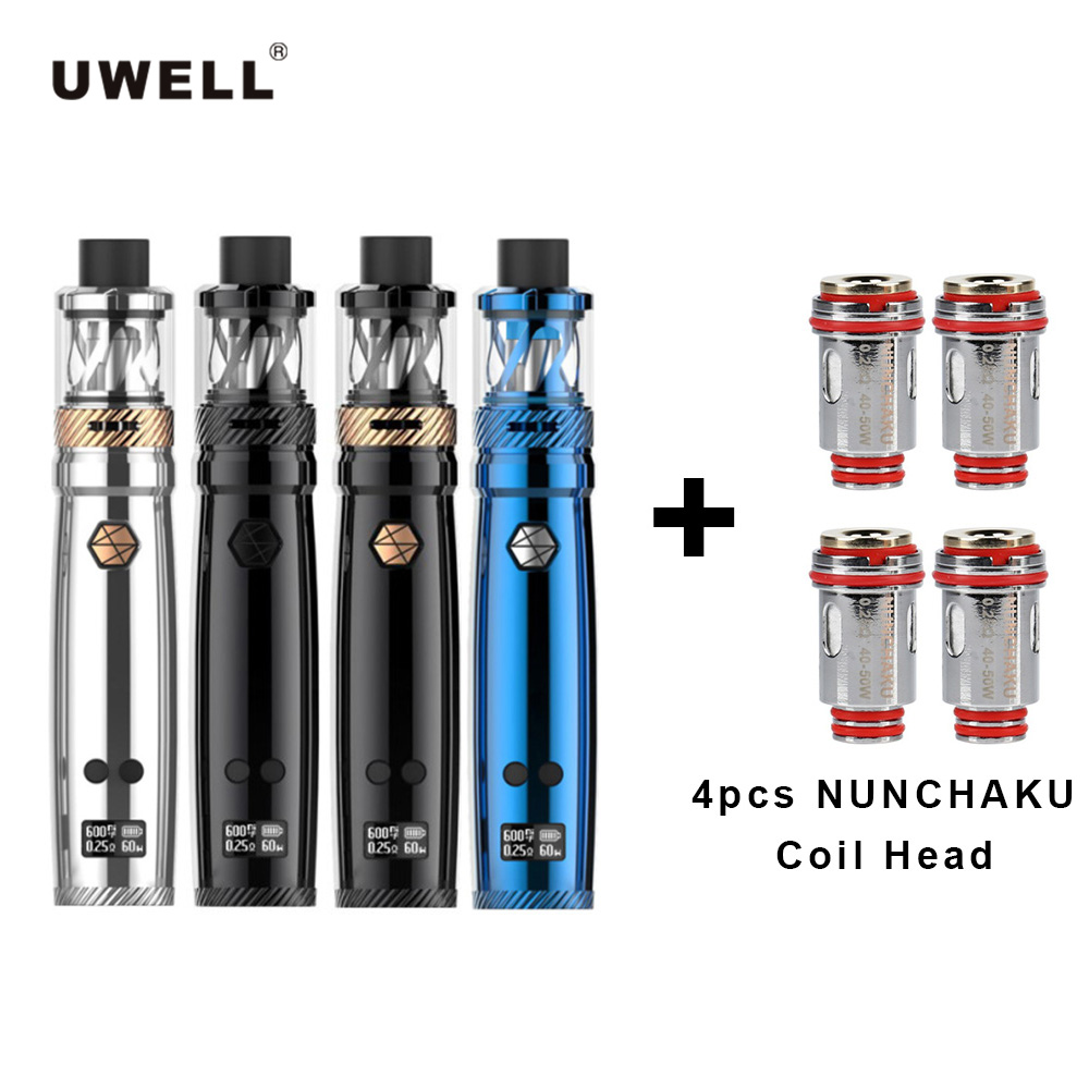 Original Uwell NUNCHAKU Tank Kit Vape 5ml Atomizer 80W Box Mod & 4pcs Core Coil Head replace Gift Large Cloud without 18650 cell 4pcs core gift original uwell nunchaku tank kit vape 5ml atomizer 80w box mod large cloud