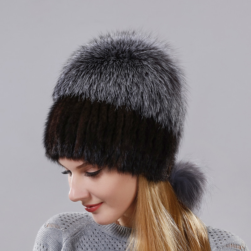 Real Mink Fur And Natural Silver Fox Fur Warm Winter Cap For Women Good Quality Ear Warm Hat Fox Fur Covered In The Back Cap